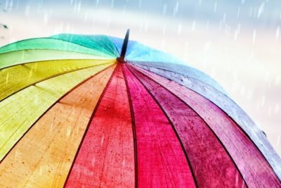 Colourful umbrella on a rainy day